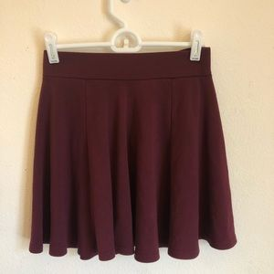 H&m burgundy skater skirt
